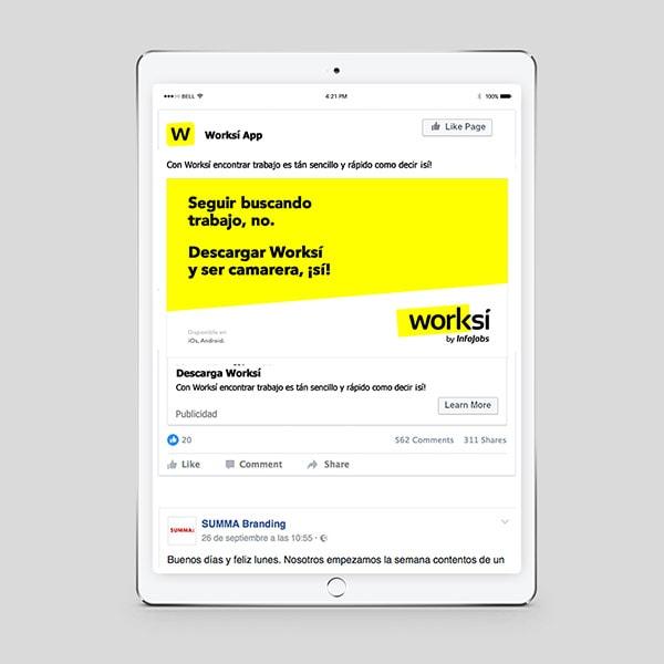 Worksí anuncio en iPad
