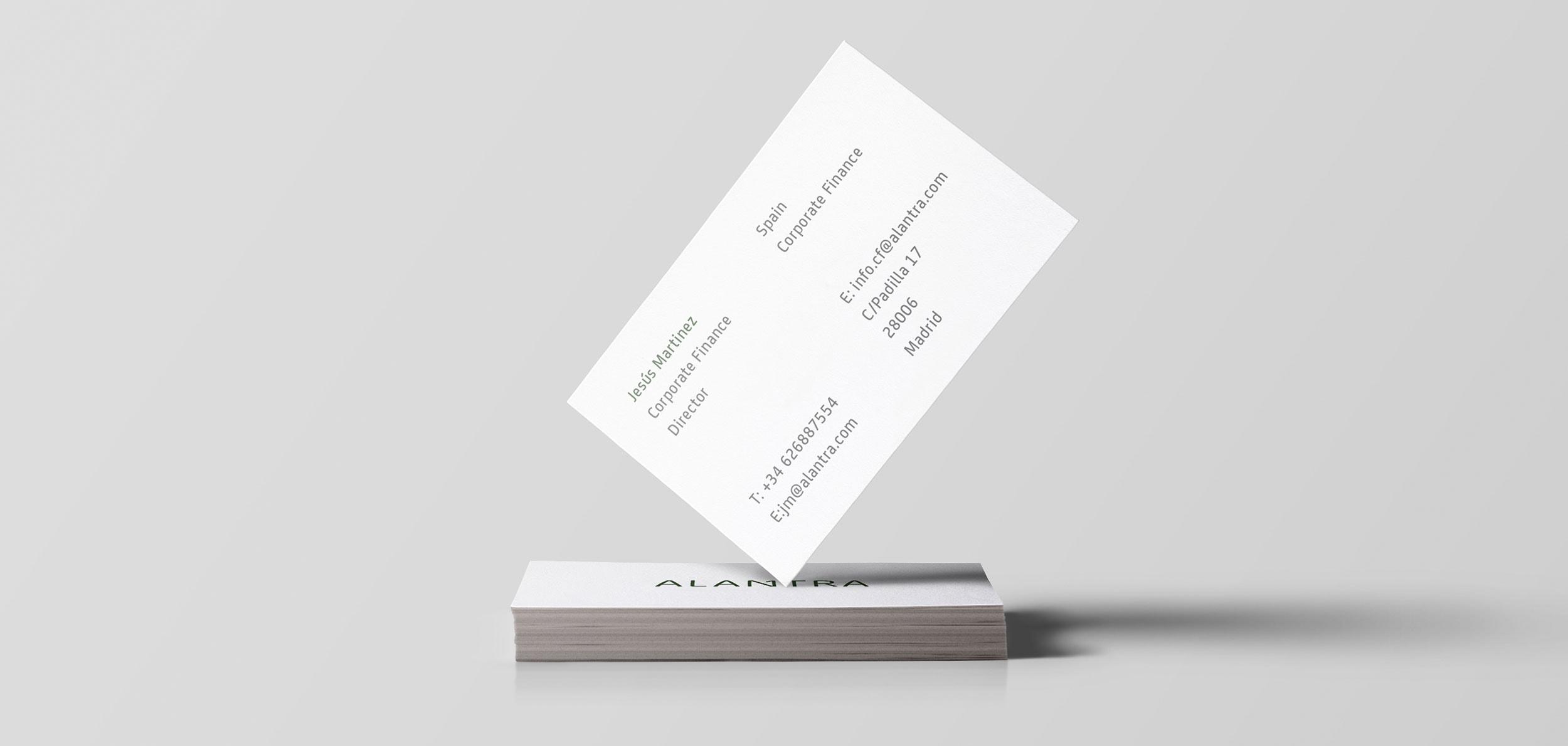 Diseño tarjeta de visita Alantra